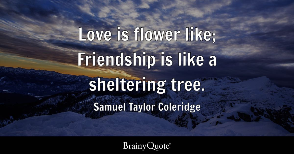 Love Is Flower Like Friendship Is Like A Sheltering Tree Samuel Inspiration Flower Love Quotes