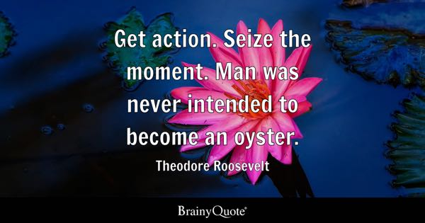 Get action. Seize the moment. Man was never intended to become an oyster. - Theodore Roosevelt