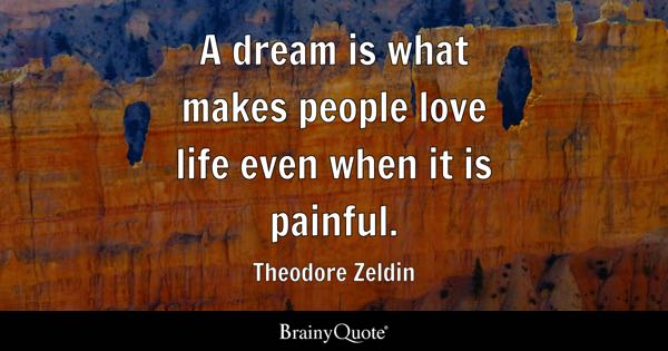 A Dream Is What Makes People Love Life Even When It Is Painful.   Theodore