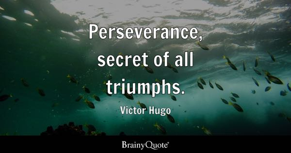 Perseverance, secret of all triumphs. - Victor Hugo