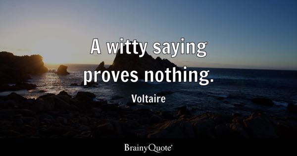 A witty saying proves nothing. - Voltaire