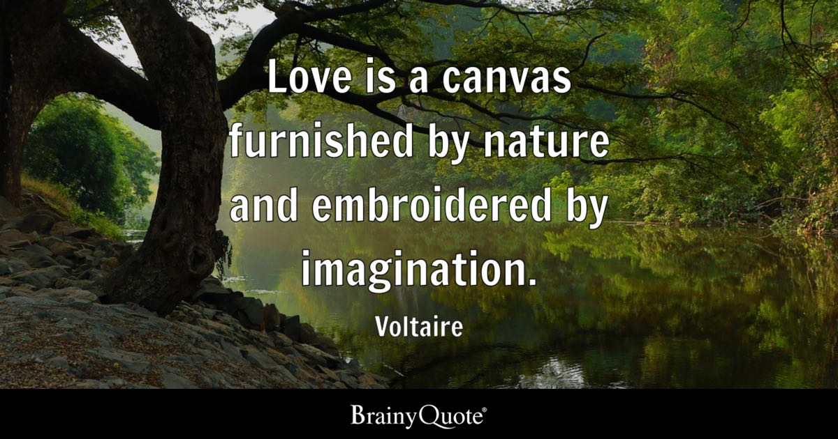Voltaire Love Is A Canvas Furnished By Nature And Embroidered Extraordinary Canvas Love Quotes