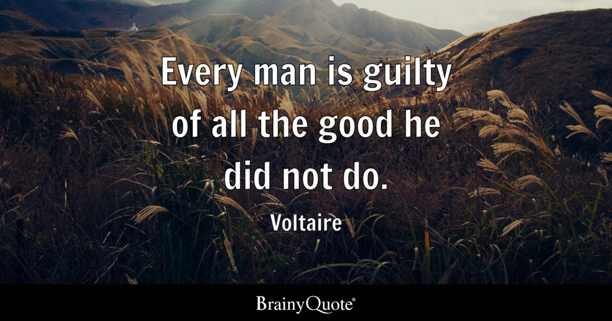 Voltaire Every Man Is Guilty Of All The Good He Did