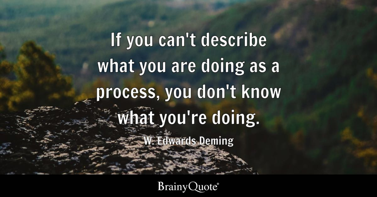 W. Edwards Deming - If you can\'t describe what you are...