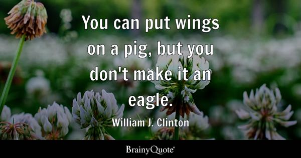 You can put wings on a pig, but you don't make it an eagle. - William J. Clinton