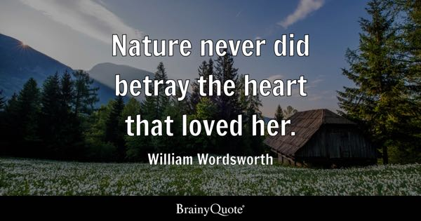 Nature never did betray the heart that loved her. - William Wordsworth